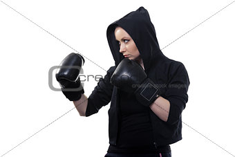 Young woman in boxing gloves on a white background