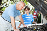 Father Teaching Son Auto Repair