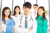 Professional medical doctor team standing over white background
