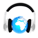 Blue earth with headphones from transparent plastic. World music