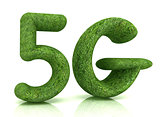 5g modern internet network. 3d text of grass