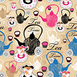 pattern teapots and cups with tea