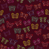 Seamless pattern with gradient butterflies