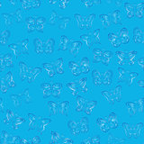 Seamless pattern with blue gradient butterflies