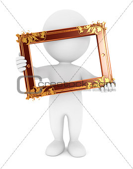 3d white people holding an old frame