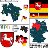 Map of Lower Saxony, Germany