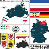 Map of Mecklenburg-Vorpommern, Germany
