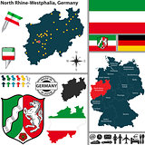 Map of North Rhine-Westphalia, Germany