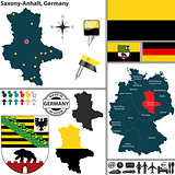 Map of Saxony-Anhalt, Germany
