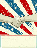 Patriotic design with handshake