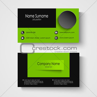 Modern sample green business card template