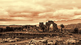 Ancient Troizina Ruins monochrome based on red, Greece