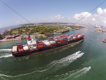 Cargo ship entering port of Miami
