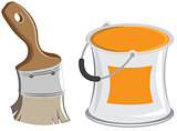Wide paintbrush and cans. Vector cartoon