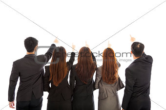 Group of business team point the same direction