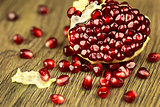 Bright ripe pomegranate with seeds