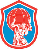 Atlas Carrying Globe on Shoulder Front Shield Retro