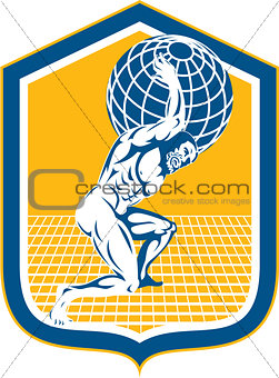Atlas Carrying Globe on Shoulder Shield Retro