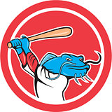 Catfish Baseball Player Batting Cartoon
