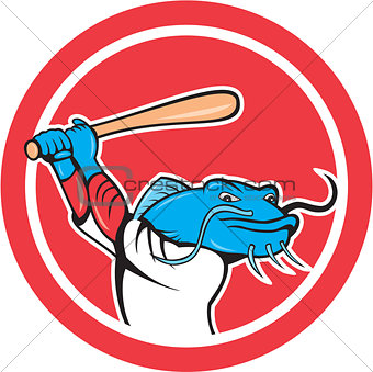 Catfish Baseball Player Batting Cartoon