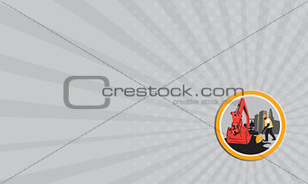 Business card Mechanical Digger Construction Worker Circle