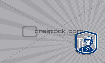 Business card Power Lineman Repairman Shield Retro