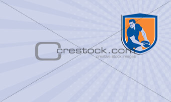 Business card Rugby Player Passing Ball Shield Retro