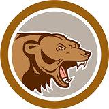 Angry Grizzly Bear Head Circle Cartoon