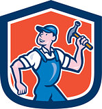 Builder Carpenter Holding Hammer Cartoon