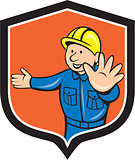 Builder Carpenter Hands Out Cartoon