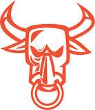 Bull Cow Head Nose Ring Cartoon