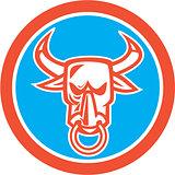Bull Cow Head Nose Ring Circle Cartoon