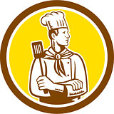 Chef Cook Holding Spatula Side View Circle