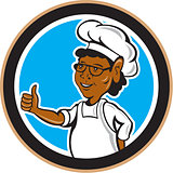 African American Chef Cook Thumbs Up Circle