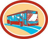 Tourist Coach Shuttle Bus Oval Retro