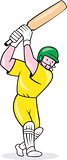 Cricket Player Batsman Batting Cartoon