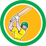 Cricket Player Batsman Batting Circle Cartoon