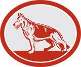 German Shepherd Dog Oval Woodcut