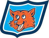 Red Fox Head Shield Cartoon