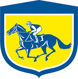 Jockey Horse Racing Side View Shield Retro