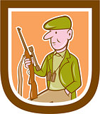Hunter Holding Rifle Shield Cartoon