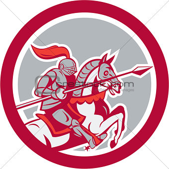 Knight Riding Horse Lance Circle Cartoon