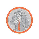 Metallic Detective Holding Magnifying Glass Circle Retro