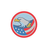 Metallic American Bald Eagle Clutching Flag Circle Retro