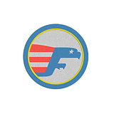 Metallic Eagle Flying Flag Side Circle Retro