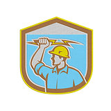 Metallic Electrician Holding Lightning Bolt Side Shield