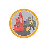 Metallic Mechanical Digger Construction Worker Circle