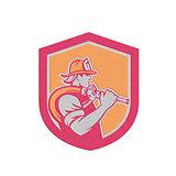 Metallic Fireman Firefighter Holding Fire Hose Shoulder Shield