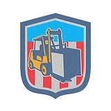 Metallic Forklift Truck Materials Logistics Shield Retro