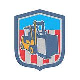 Metallic Forklift Truck Materials Logistics Shield Retro